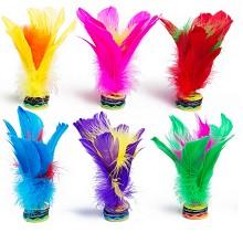 任鸟飞 NF1036 毽子 鸡毛鹅毛毽彩色羽毛花键球 荷花毽子(6只装) 颜色随机