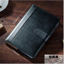 博文(bowen)18177 商务皮面笔记本 办公记事本 工作手帐 黑色-B5