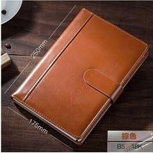 博文(bowen)18177 商务皮面笔记本 办公记事本 工作手帐 棕色-B5