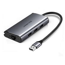 绿联(UGREEN) USB3.0HUB分线器千兆有线网口网卡转换器笔记本电脑扩展RJ45网线接口适用苹果Mac集线器 千兆网卡网口+3.0HUB转换器