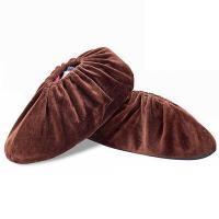 京缇 加厚耐磨防滑底绒布鞋套 浅咖啡色 均码