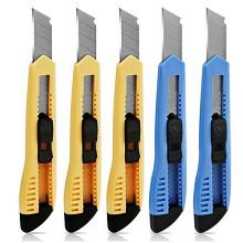 得力(deli)2003 塑料壳耐用通用型美工刀/裁纸刀 5个/盒 整盒装