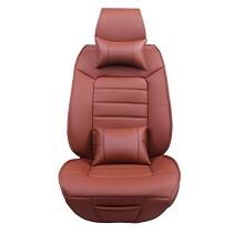南极人(nanJiren)皮革汽车坐垫套四季通用五件套单套 棕红色