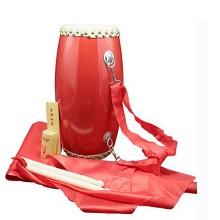 御昇 成人牛皮腰鼓 幼儿园儿童腰鼓乐器 12cm+鼓棒+背带+方巾+红绸