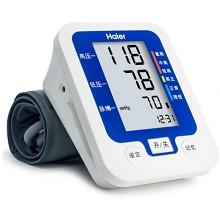 海尔(Haier)BF1102 全自动臂式电子血压计 家用血压仪上手臂式语音播报大屏显示 蓝色
