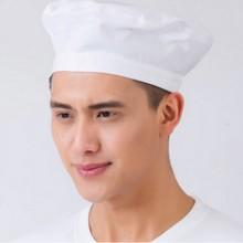 知义 餐厅厨师纯棉高帽 平顶帽 可调节蘑菇帽