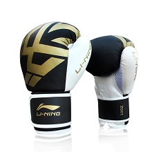 李宁(LI-NING)LXWL072-1 透气型拳击手套 成人散打搏击手套 男女训练比赛手套打沙包拳套 10oz 黑金