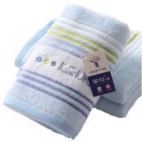 金号纯棉毛巾 横纹素色 全棉柔软吸水洗脸巾 家用面巾 G1777H 74*34cm 单条 蓝色