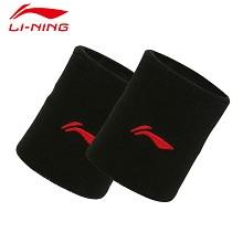 李宁 LI-NING  198-1 透气男女篮球羽毛球毛巾运动护手腕健身护腕 黑色(2只装)