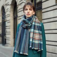 凌克  ZYLK04089 羊毛围巾女士披肩两用加厚  蓝格