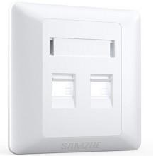 山泽(SAMZHE) MB-05X 双口网络面板【普通版五个装】加厚豪华型网线插座网络电话信息