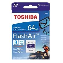 东芝(TOSHIBA)64GB SD卡 FlashAir 第四代无线局域网嵌入式 U3 C10 读速90MB/s 写速70MB/s WiFi存储卡