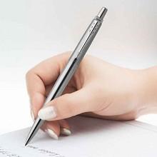 派克(PARKER)2025073 中性签字笔 乔特钢杆白夹凝胶水笔 单支 钢色