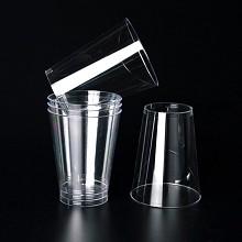 宝驰 一次性航空杯 透明饮水杯塑料杯 喝水招待杯 商务杯100只