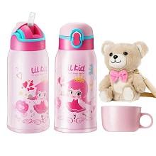 物生物(relea)YR011805-0580 物生物我的公主儿童壶(带小熊杯套) 580ML 单个 款式随机