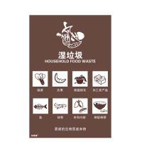 安赛瑞 25326 垃圾分类标志标识(湿垃圾)生活垃圾标语 上海细化分类标语标示3M不干胶贴纸 270×405mm 一张 咖啡色