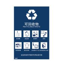 安赛瑞 25327 垃圾分类标志标识(可回收物)生活垃圾标语 上海国家标准细化分类废纸箱标示3M不干胶 270×405mm 一张 蓝色