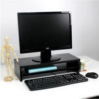 倍方 双层黑木纹电脑显示器桌 增高架