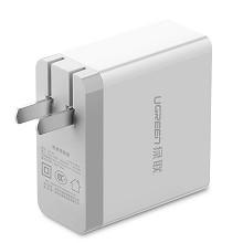 绿联(UGREEN)20379 多口充电器 2.4A四口USB可折叠快充插头插板 通用苹果华为oppo荣耀vivo三星小米安卓手机ipad平板 单个 白色