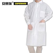 安赛瑞 39972 一次性无纺布白大褂 M 一次性无纺布工作服 一次性实验室白大褂 无纺布实验室防尘服 5件装 白色