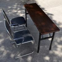 艾搜倍欧 长条会议桌 可折叠 黑胡桃色 1.6m*0.6m*0.8m