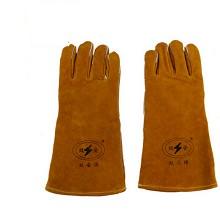 双安 DH-001 电焊手套 耐磨耐高温 焊接隔热手套 牛皮机械工业手套 副 咖啡色