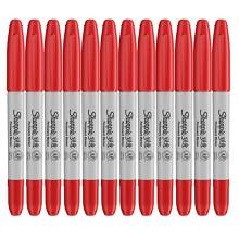 锐意(Sharpie)1962614 防褪色马克笔双头 12支/盒 单盒 红色