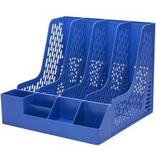 得力(Deli)78981 四联带笔筒文件框文件座 蓝色