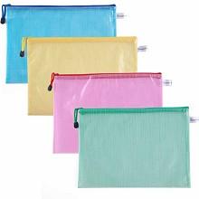 广博(GuangBo)A6112 拉链袋 A4/PVCA4彩色网格拉链袋 12只装 颜色随机