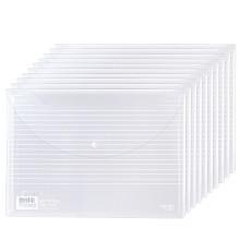 得力(deli)5502 A4加厚镜面透明按扣文件袋 10只/包 整包价
