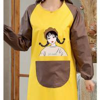 丸子 可擦手小女孩罩衣+咖兜 防水防油 时尚女款 黄色 长94cm 袖长72cm