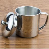 务实 WS08 不锈钢口杯 304材质 有盖 有手柄 直径9cm