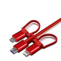 纽曼(Newmine)XS06快充版 数据线 5A快充USB-C三合一苹果/Type-C/安卓快充一拖三充电线支持华为40W闪充 单条 红色