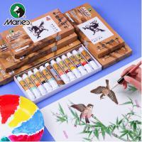 马利(Marie's)TME1302-1 12色12ml国画颜料套装 含水墨颜料宣纸+墨汁+调色盘+3支装毛笔