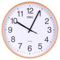 得力(deli)8819 木质挂钟 圆形挂式静音钟表 直径35cm 木色
