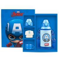 迪士尼(Disney)儿童保温杯-美国队长 600ml 礼盒装 单盒 蓝色