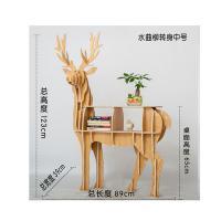 绚世界 水曲柳转身 麋鹿书架 中号 高123cm 款39cm 长89cm 桌面高度65cm