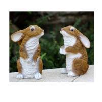 双龙树 HY900 仿真兔雕塑摆件 土黄色 一对