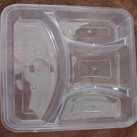 百杰 493A 四格快餐盒 透明 微波炉可用 220*190*40mm 150套/箱
