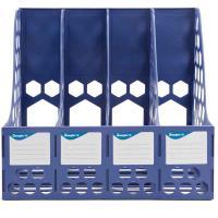 广博(GuangBo)WJK9399 稳固型四联文件框 文件筐 文件架 收纳栏办公用品 单个 蓝色